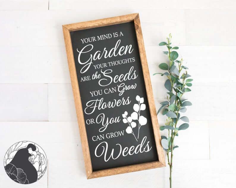 Chalkboard Style Grow Flowers Garden Sign