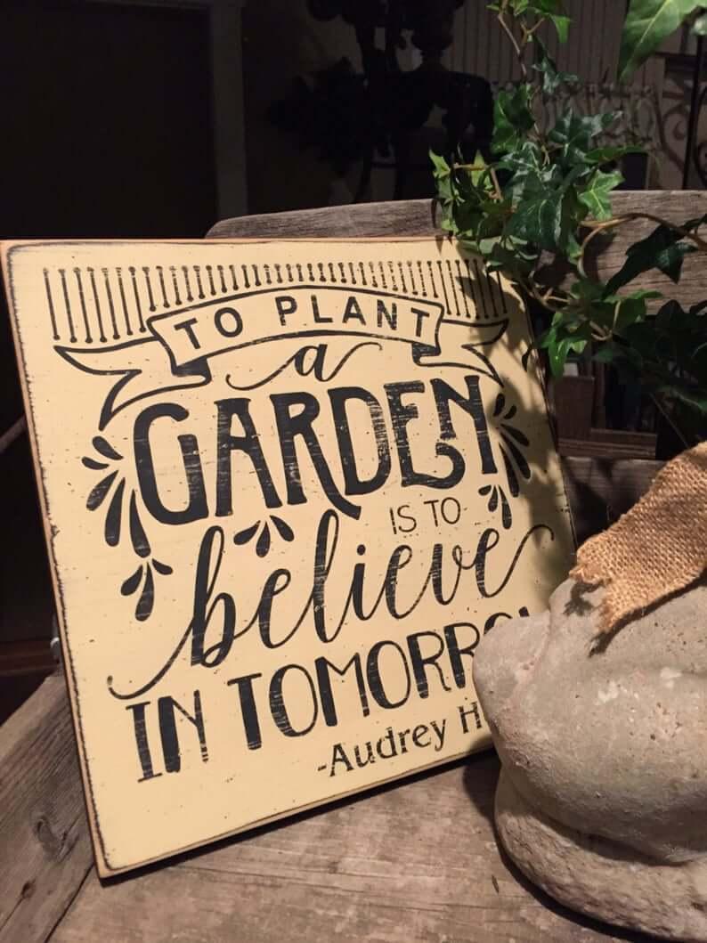 Audrey Hepburn Gardening Inspiration Vintage Sign