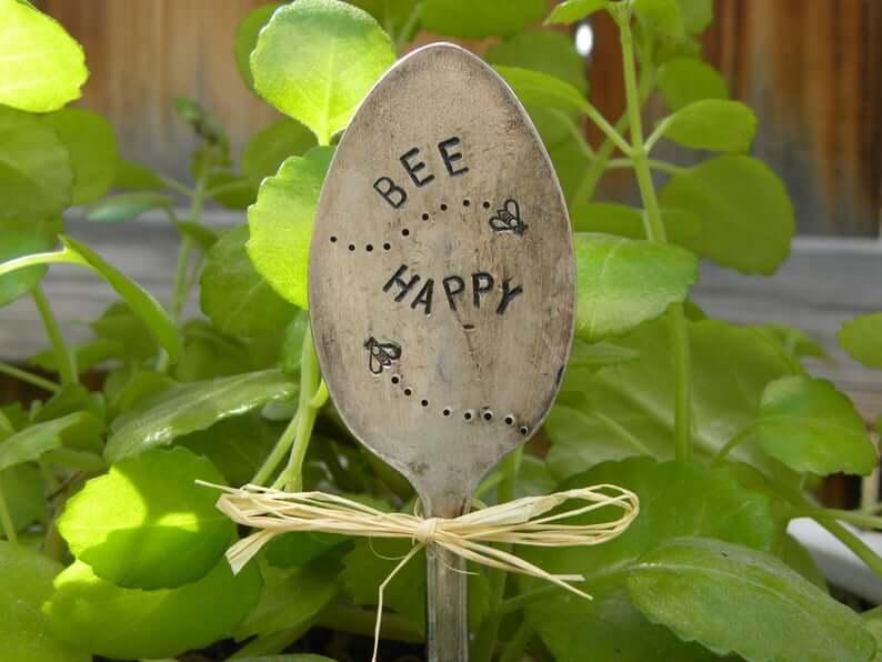 Engraved Bee Happy Metal Spoon Garden Sign