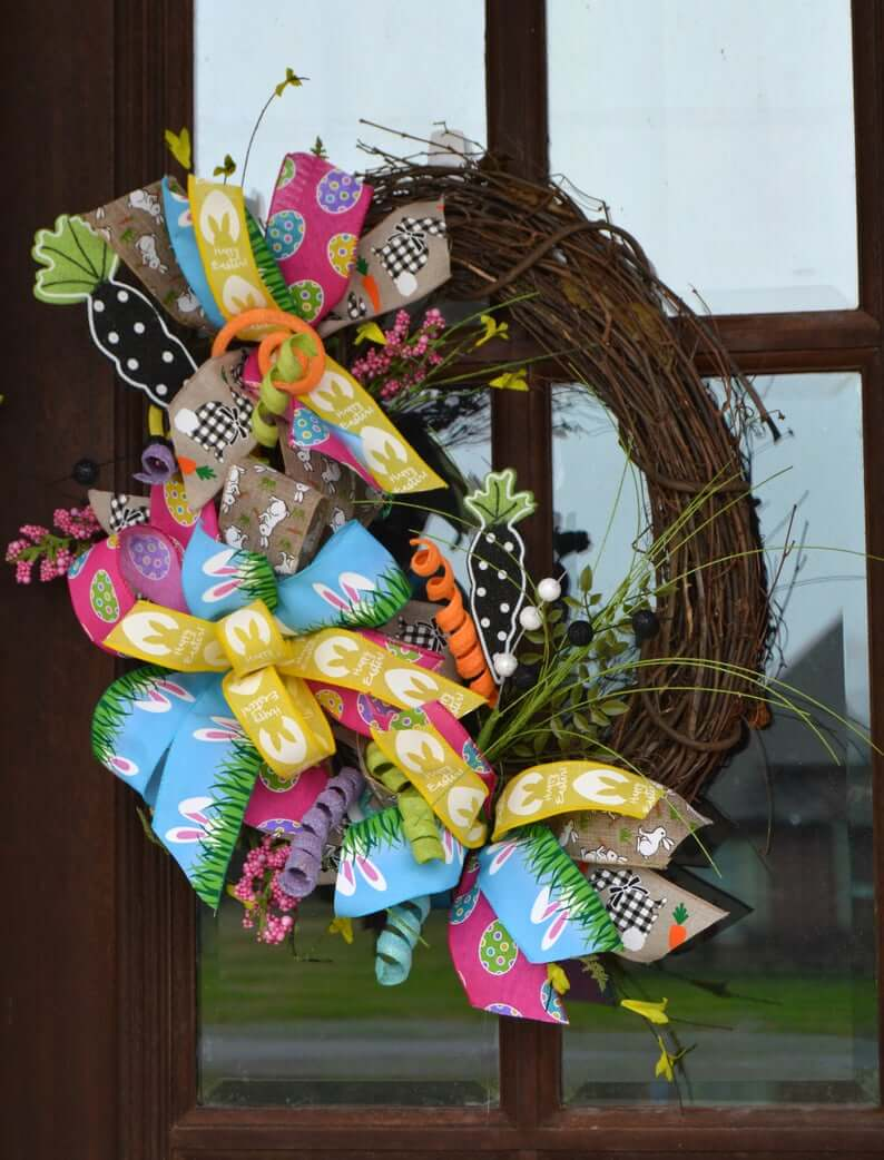 Mixed-Up Ribbon Trio Grapevine Wreath