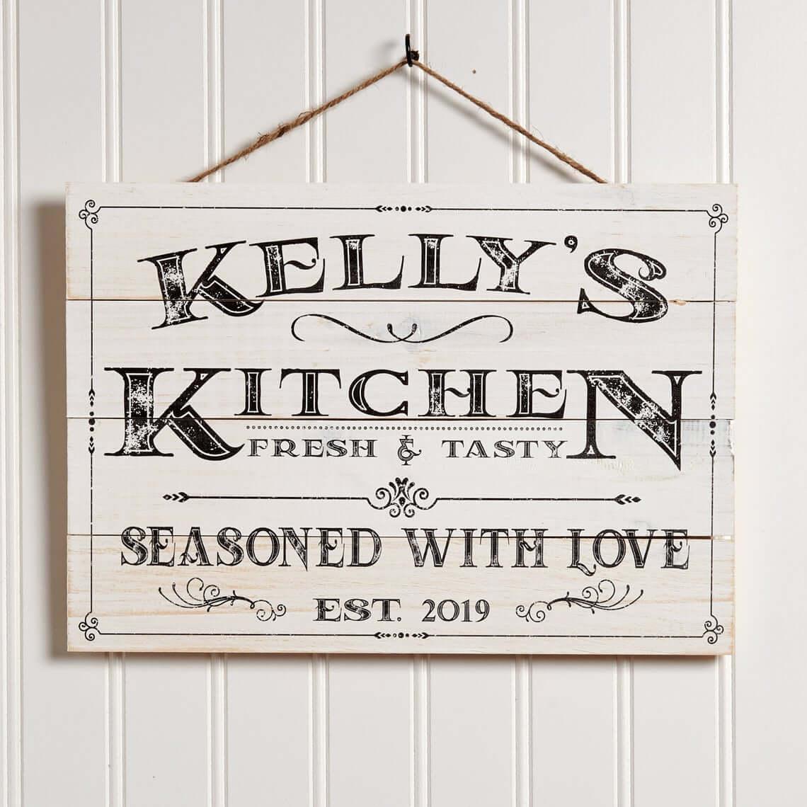Seasoned with Love Farmhouse Kitchen Sign