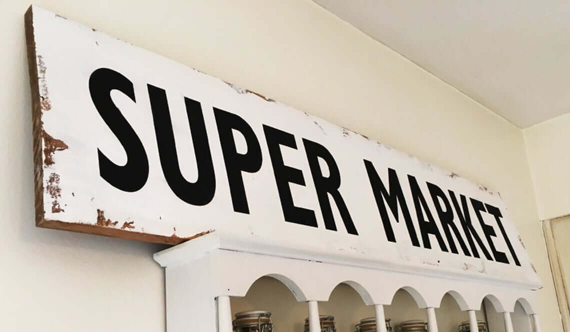 Vintage Looking Black and White Market Sign