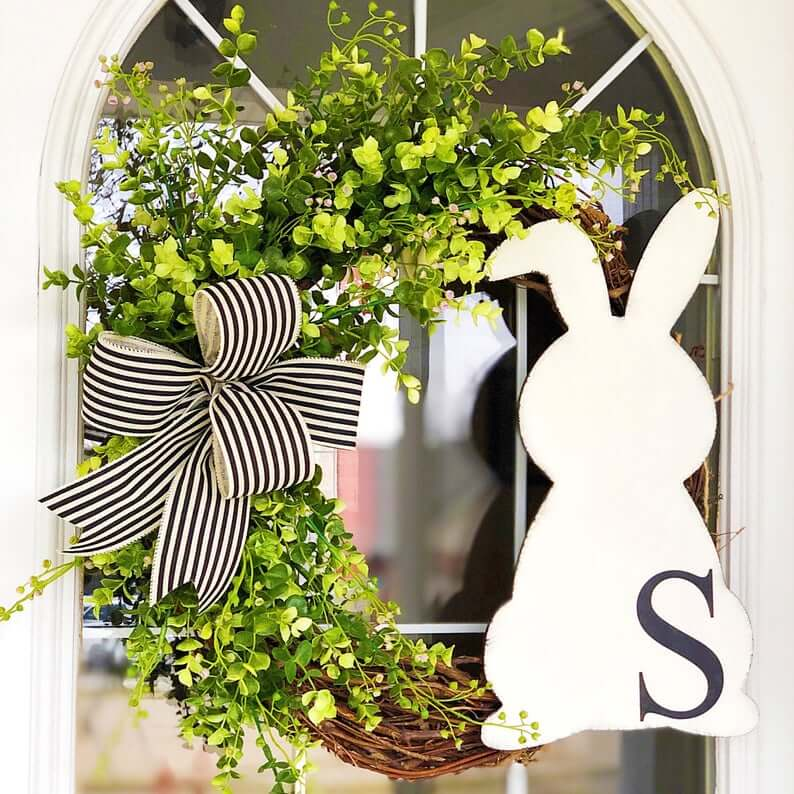 Black, White, and Green Grapevine Bunny Wreath