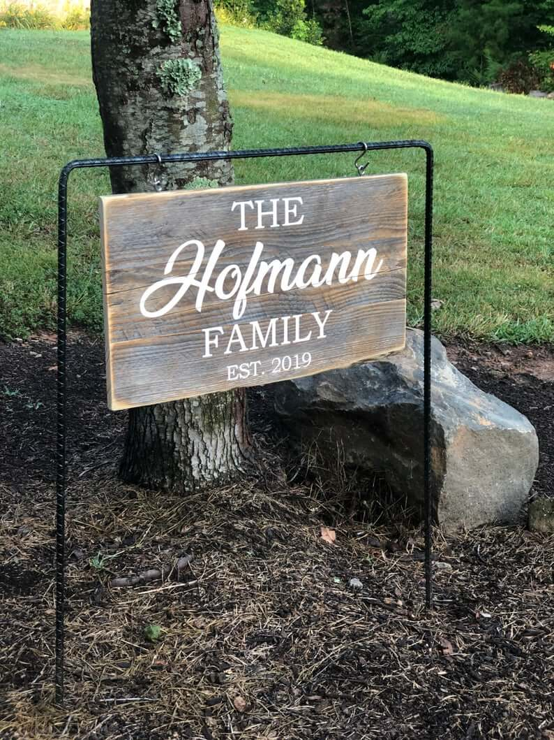 Hanging Wooden Family Sign Yard Decor
