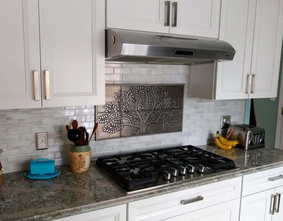 Metal Tile Flourishing Tree Kitchen Artwork