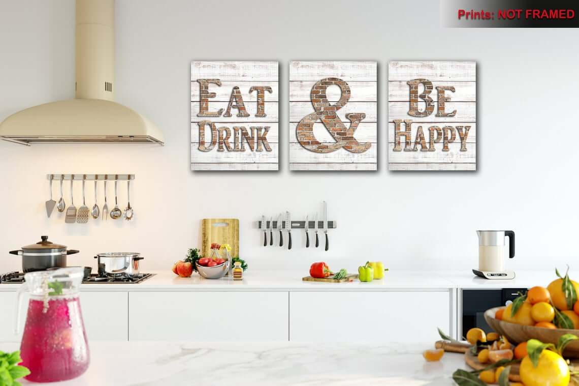 Eat and Be Happy Sign Trio