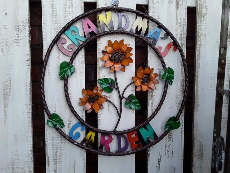 Metal Grandma's Garden Flower Sign