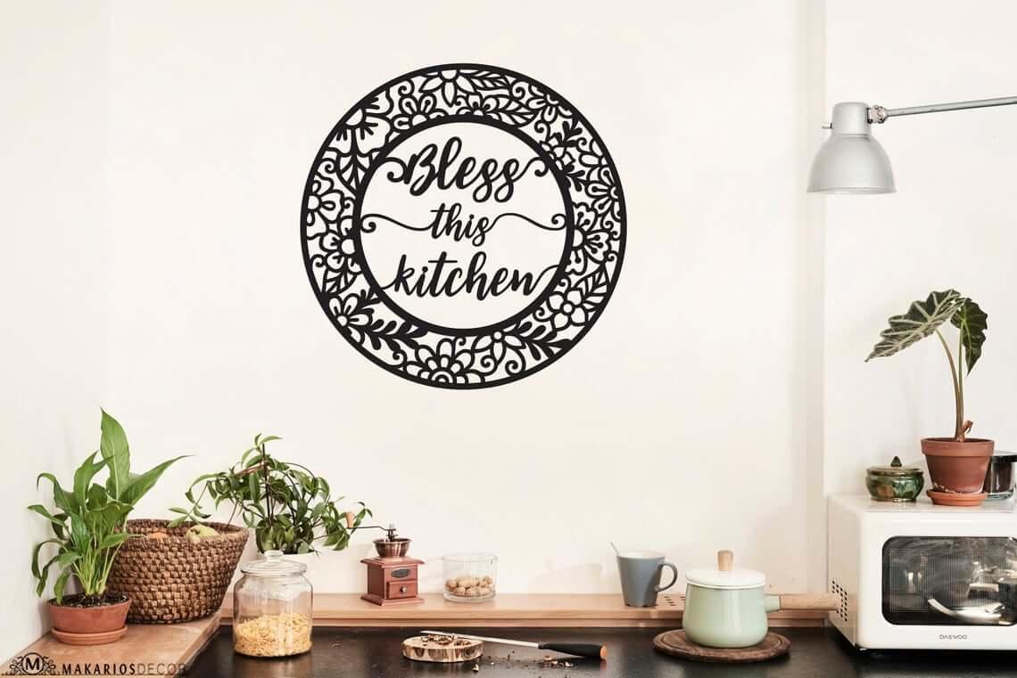 Black Matte Circular Bless this Kitchen Sign