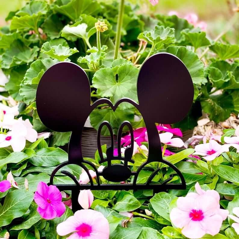 Peeking Mickey Mouse Garden Sign