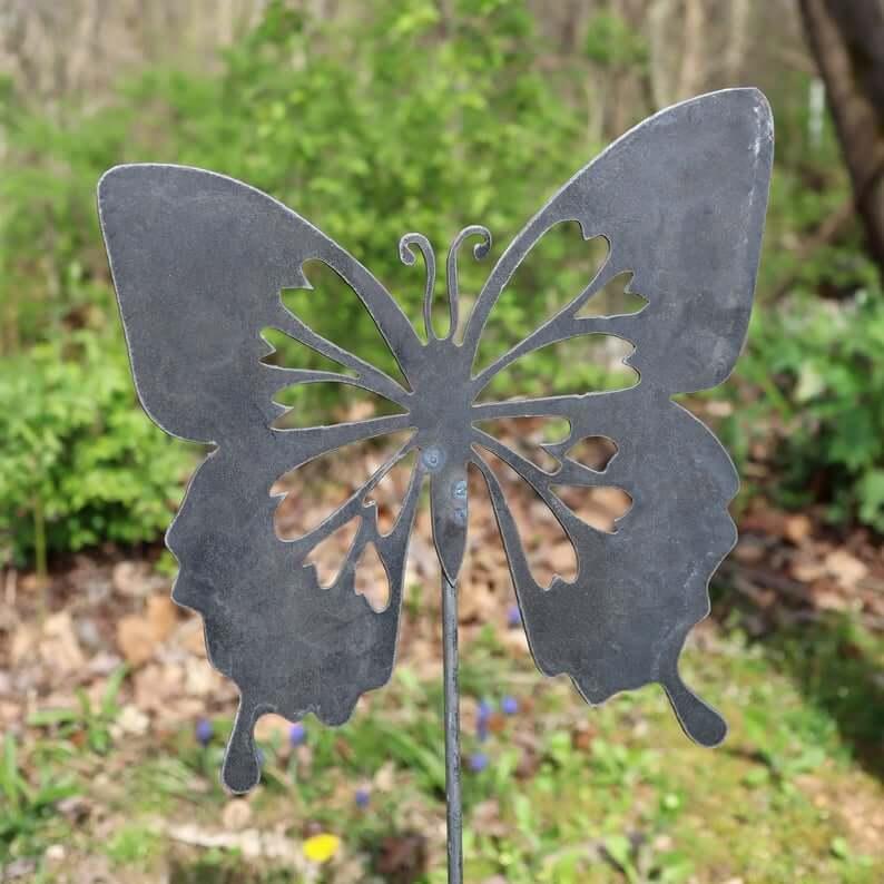 Fluttering Metal Butterfly Garden Sign