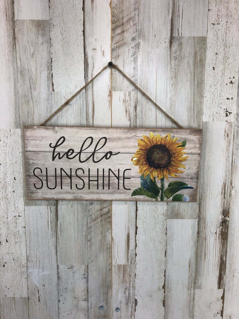 Vintage Country Hello Sunshine Sunflower Sign