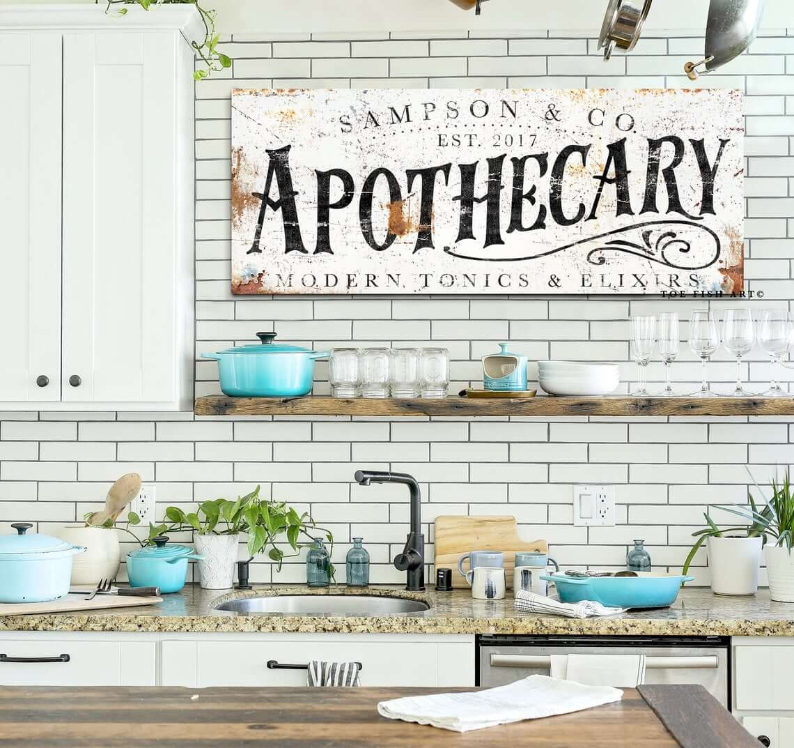 Vintage and Antique Apothecary Interior Design Sign