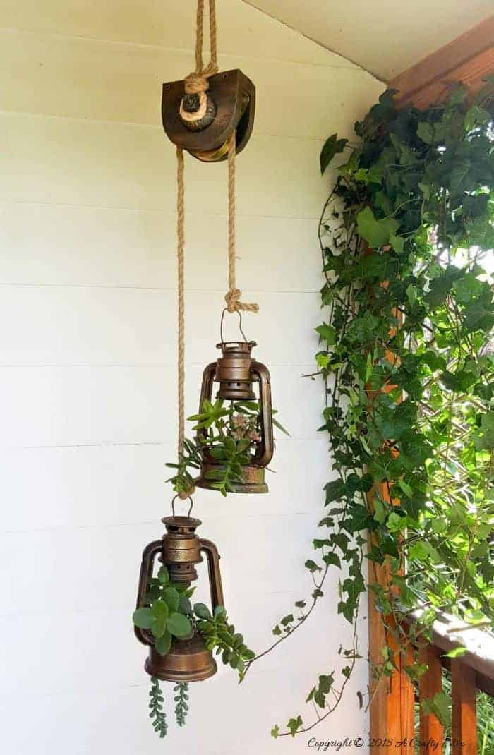 Antique Pulley Hanging Lantern Sweet Succulent Upcycled Holder