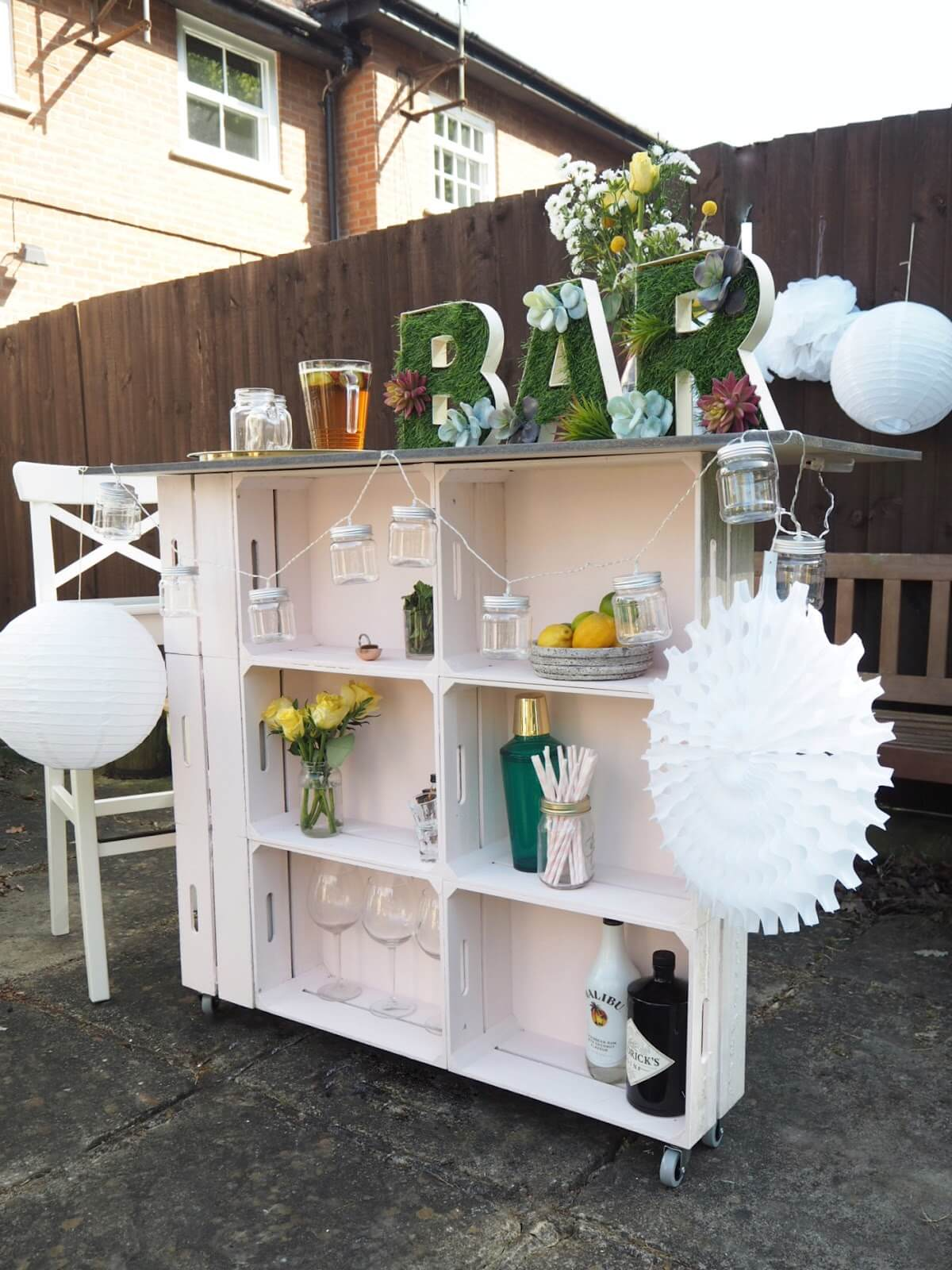 Unique Wooden Crate Bar on Wheels