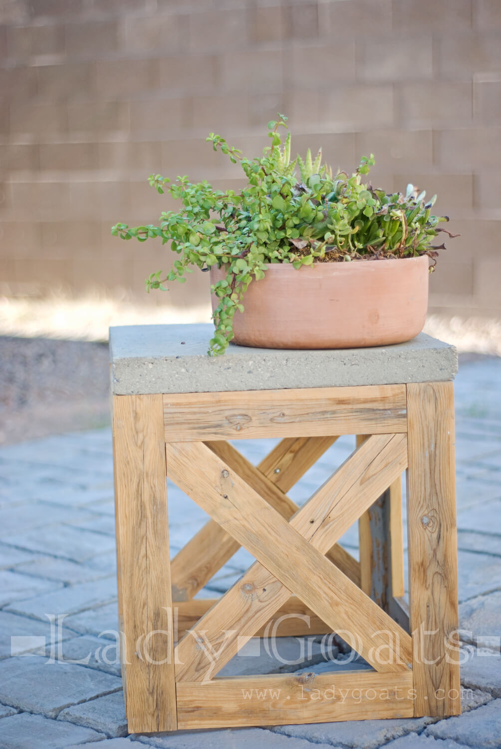 Reclaimed Wooden X-Stool and Side Table