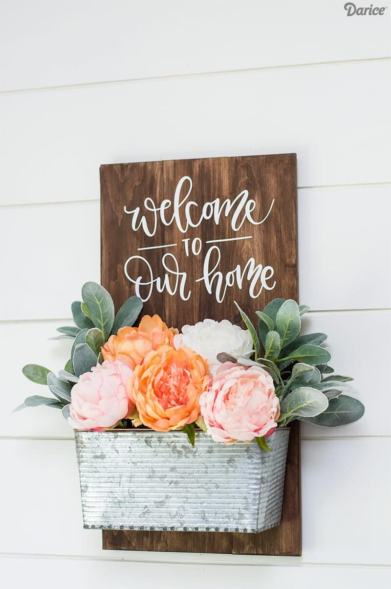 A Beautiful Flowery Welcoming Sign