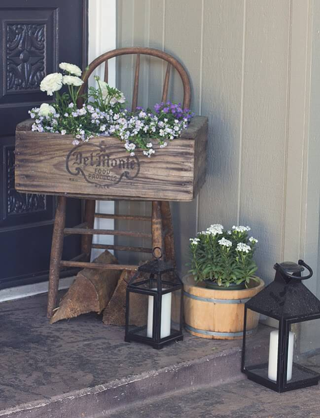 Stenciled and Stained Wooden Planter Box