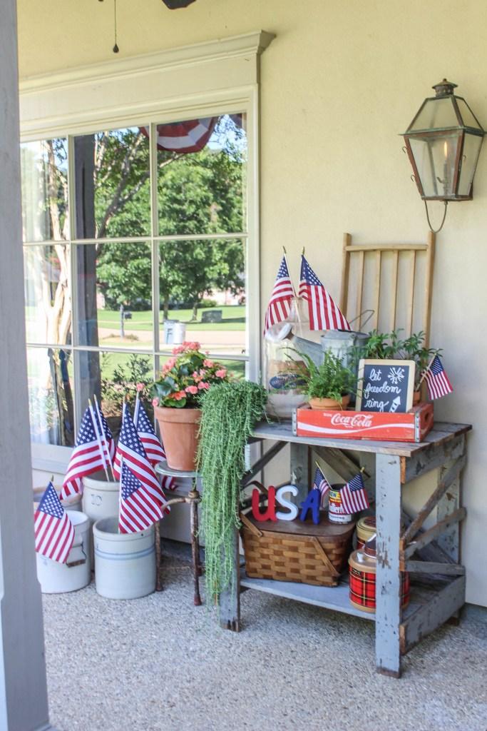 Vintage Porch Décor with a Patriotic Spin