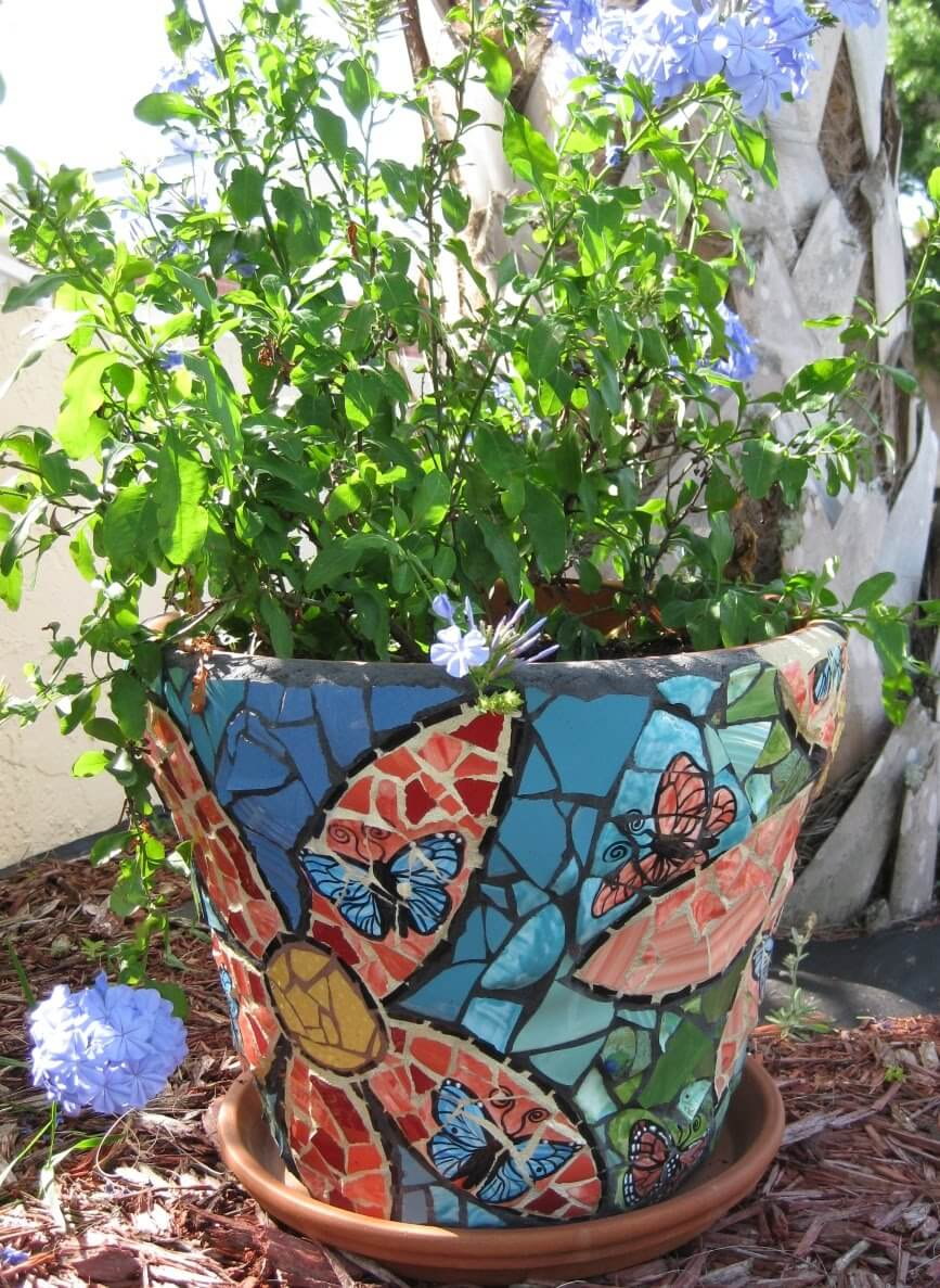 Colorful Mosaic Flower Pot Design