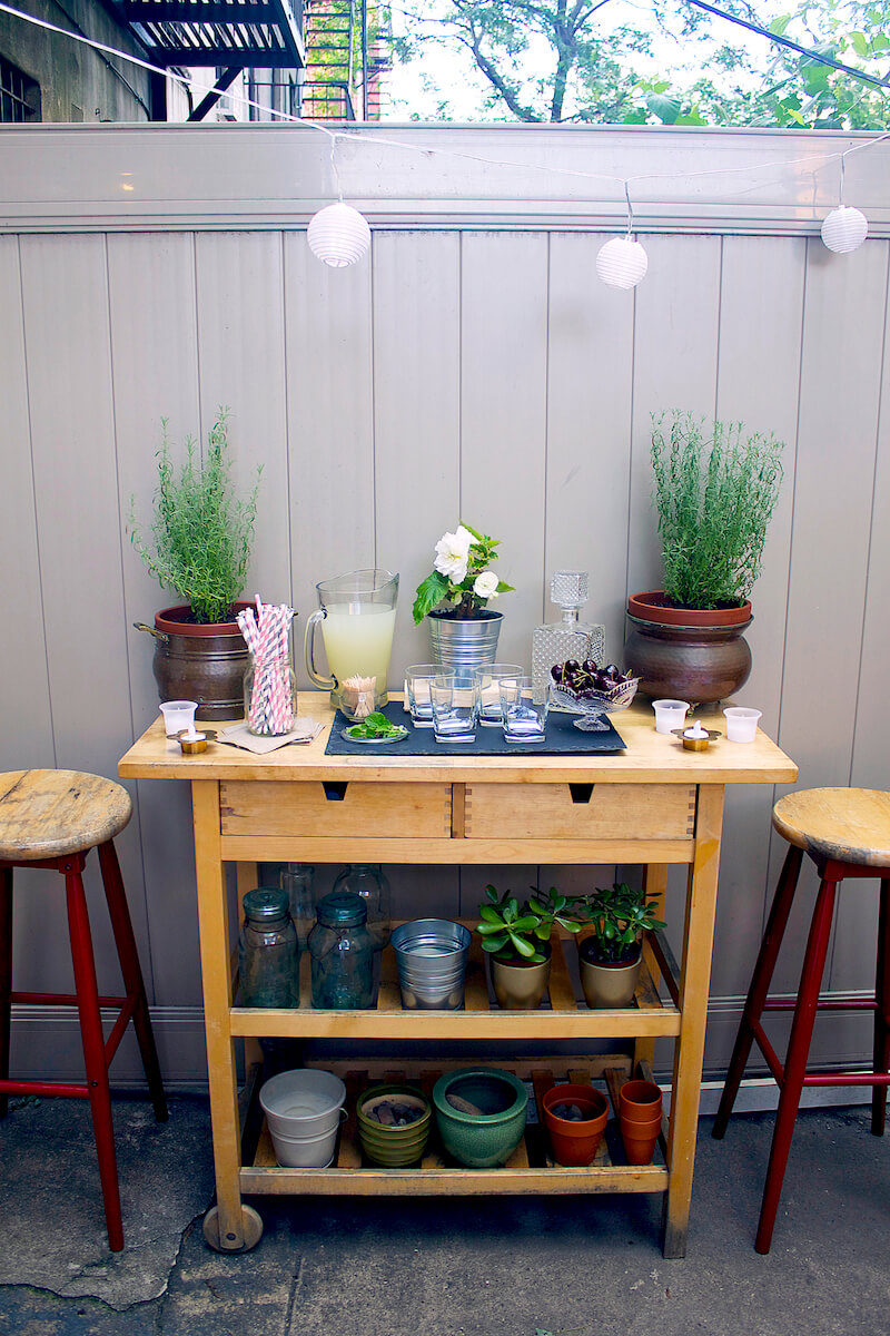 Outdoor Bar Cart with Plant Stand