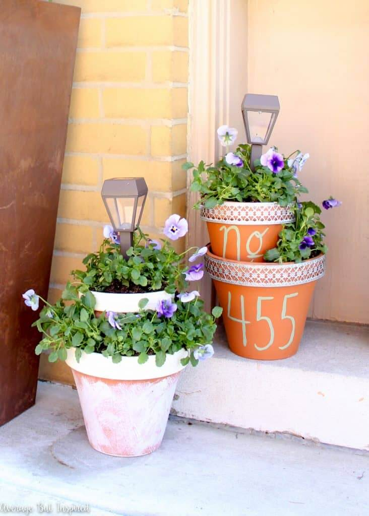 Tiered Flower Pot Planters with Solar Lights
