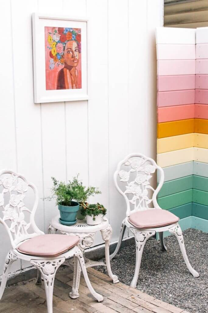 Quirky Rainbow Design Privacy Fence