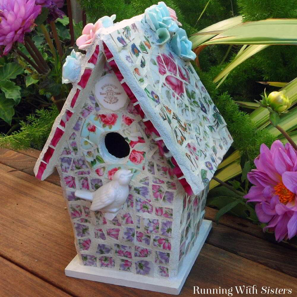 Repurposed Broken China Birdhouse Mosaic