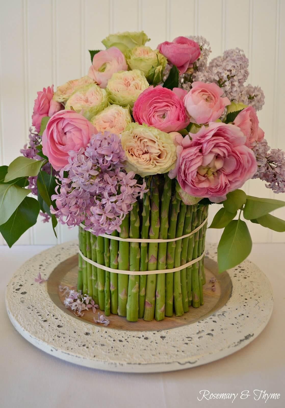 Pretty Asparagus Based Flower Arrangement