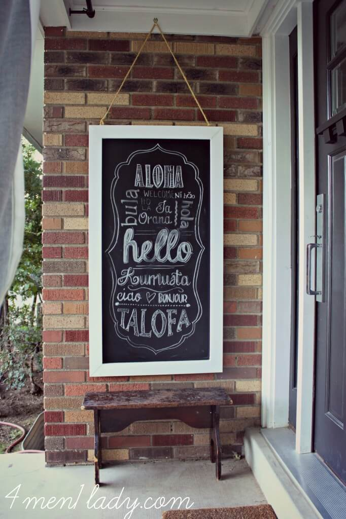 Hanging Chalkboard Art from Repurposed Wood
