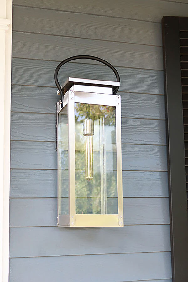 Sleek and Modern Silver Lantern Patio Light