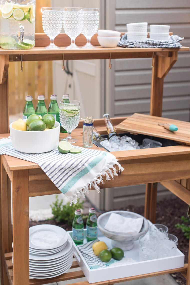 Upcycled Potting Bench as a Beverage Cart