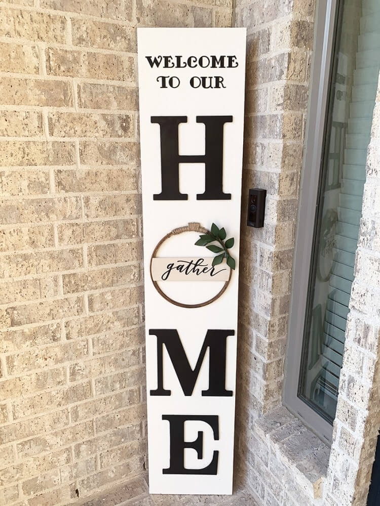 Large Vertical Welcome Home Sign