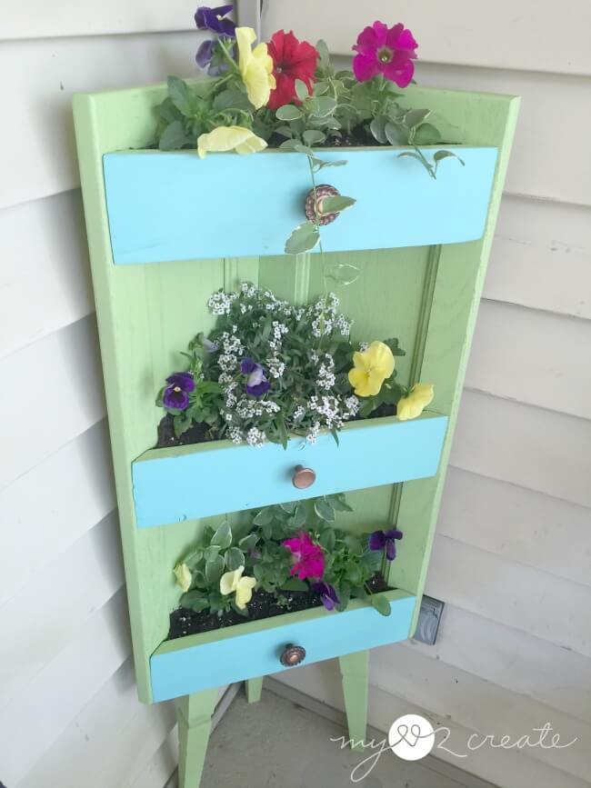 Tiered Corner Drawer Full of Flowers Upcycled Garden Goodie