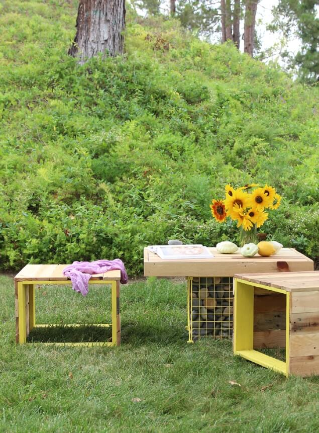 Pallet Coffee Table and Bench for the Backyard