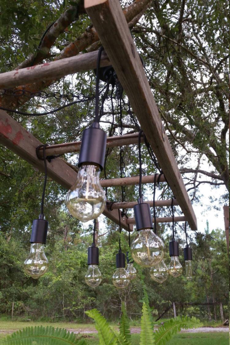 Vintage Ladder Hanging Light Bulb Strand