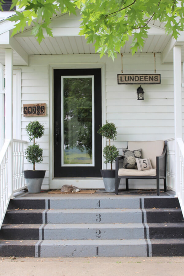 Black and Gray Numbered Front Steps