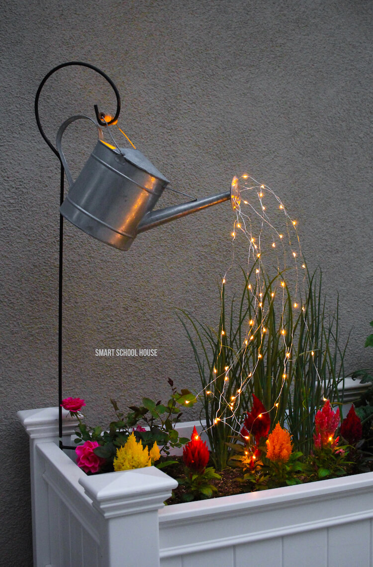 Gorgeous Watering Can Flowing with Lights Decoration