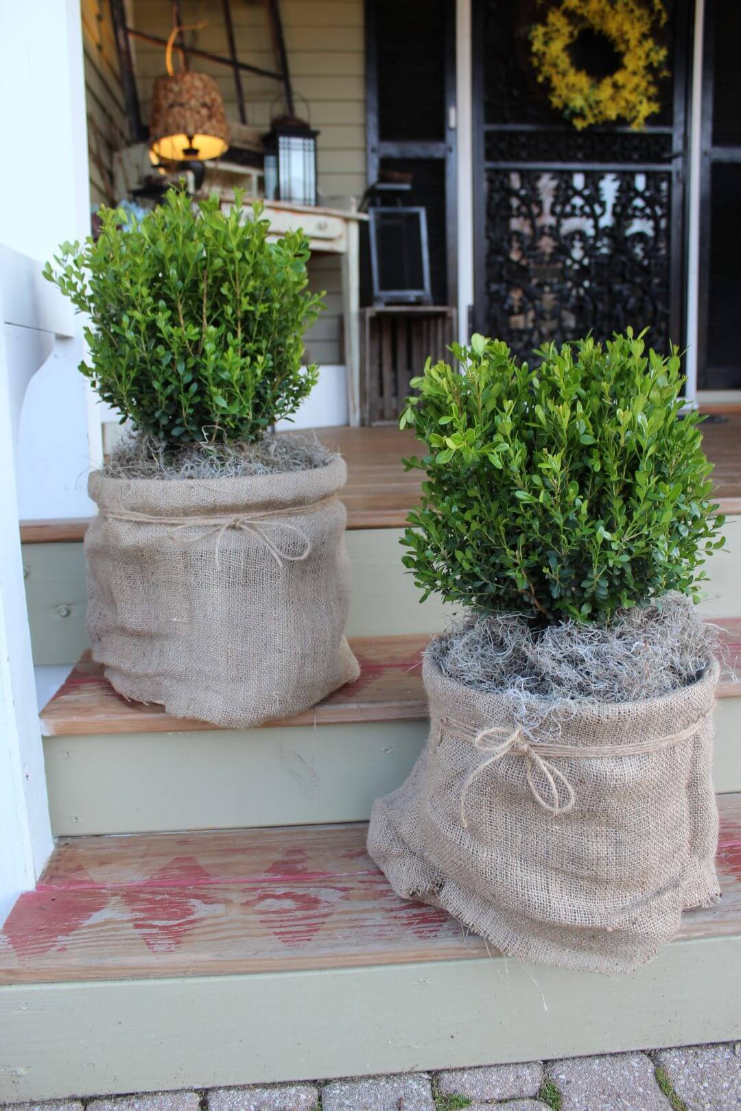 Burlap-Wrapped Rustic Planter with Twine Accent