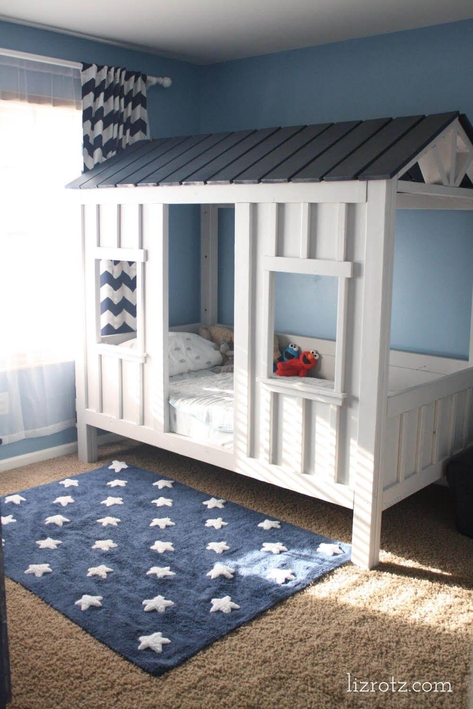 Modern Wood Cabin Toddler House Bed