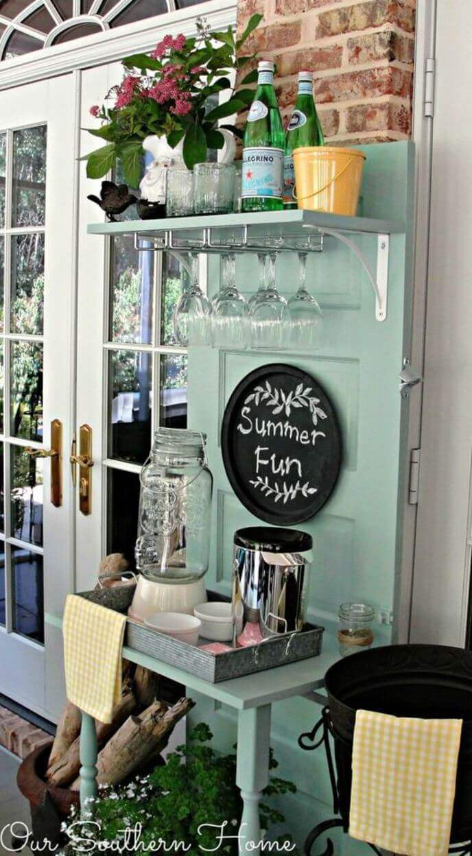 Creative Upcycled Porch Beverage Station