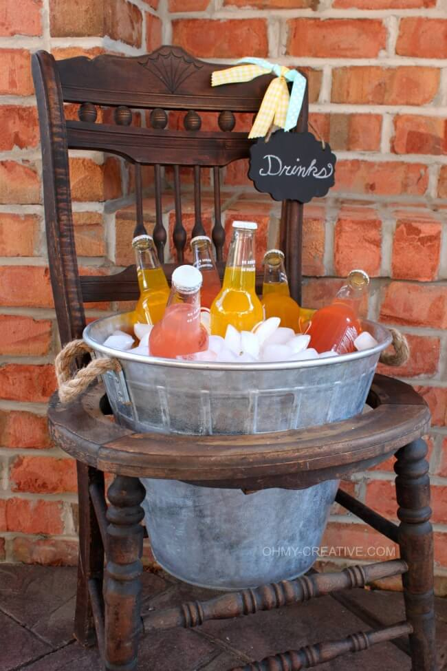 Upcycled Vintage Chair Beverage Stand