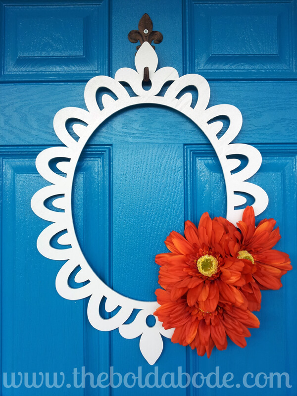 DIY Gerber Daisy Framed Art Wreath