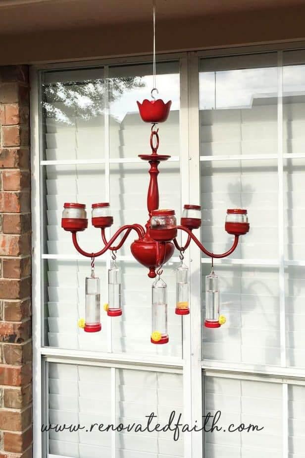 Red Hummingbird Feeder Chandelier Upcycling Idea