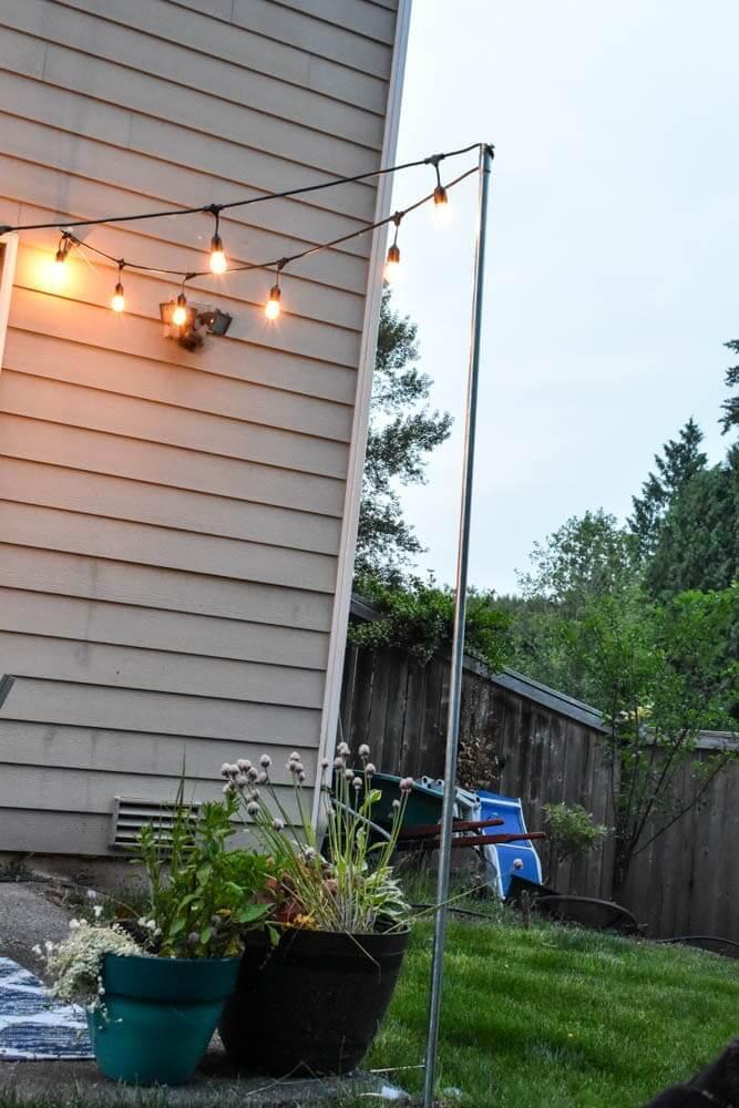 Simple Outdoor Light Strand Patio Upgrade