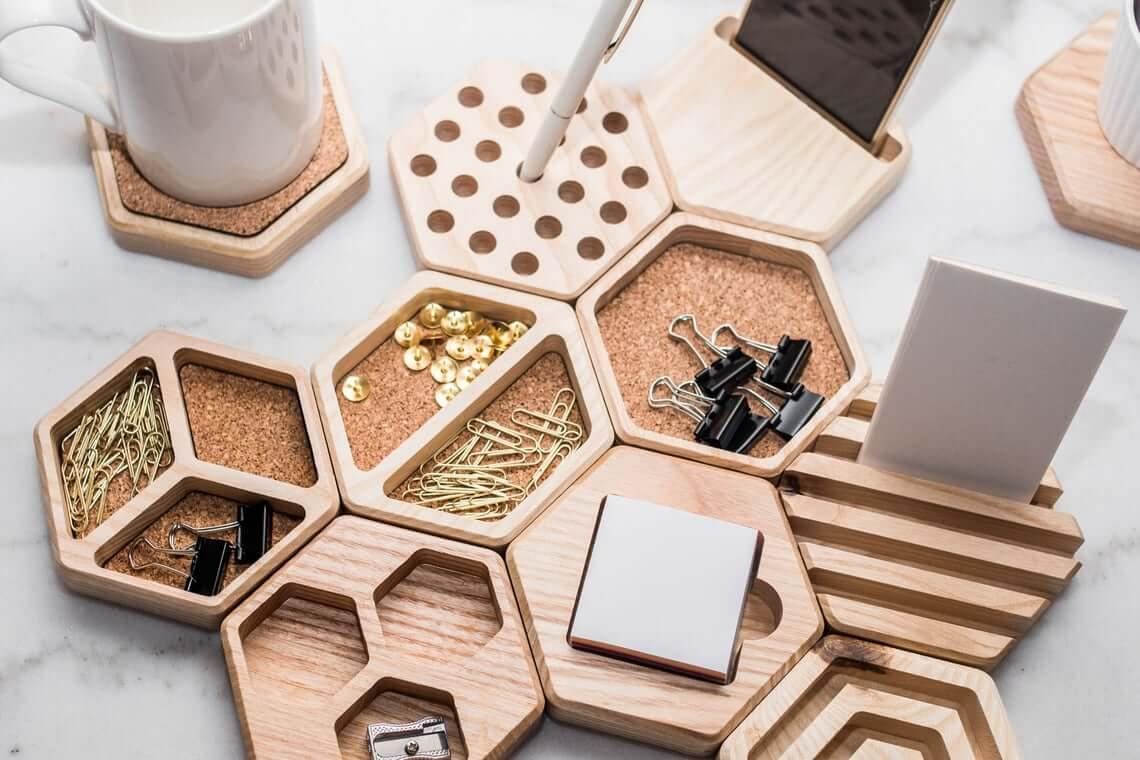 Amazing Geometric Wooden Desk Organizer