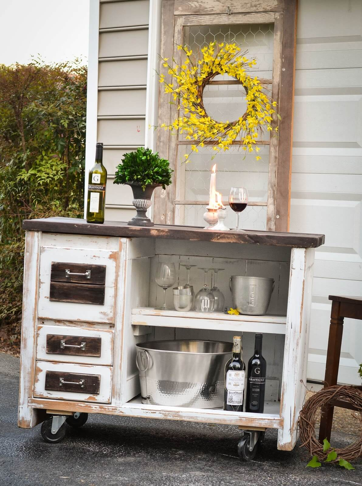 Desk Upcycled Into Rolling Island Bar