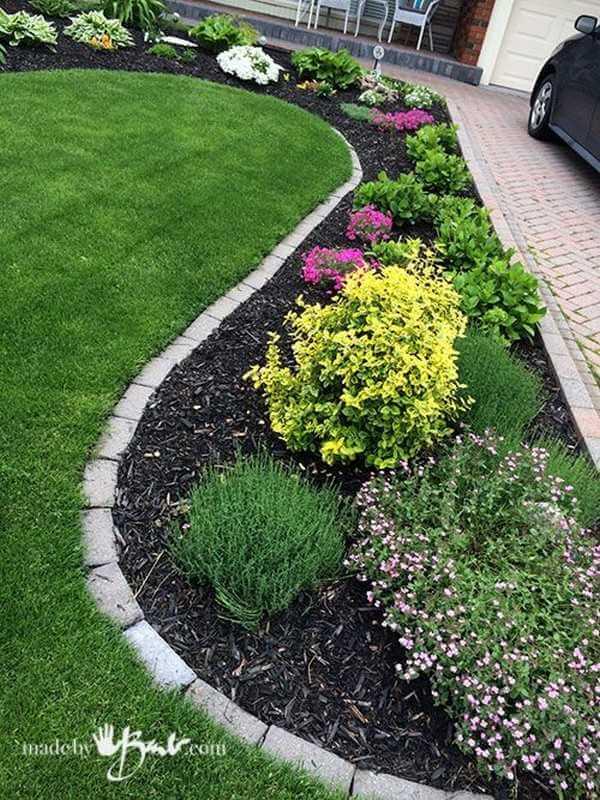 Vivid Curving Front Yard Garden