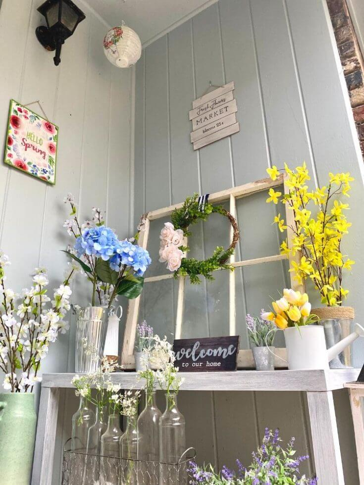 Lovely Flower Springtime Porch Bench