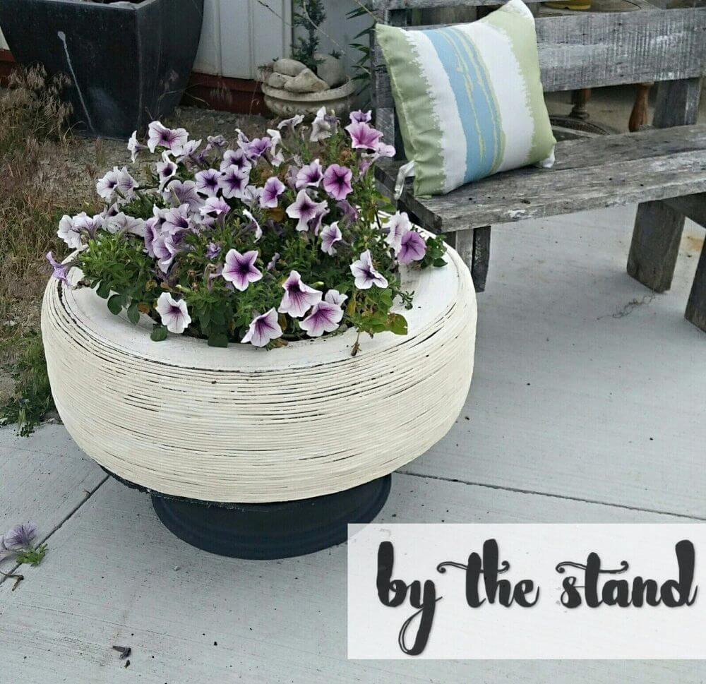White Washed and Off the Road Tire Plant Holder