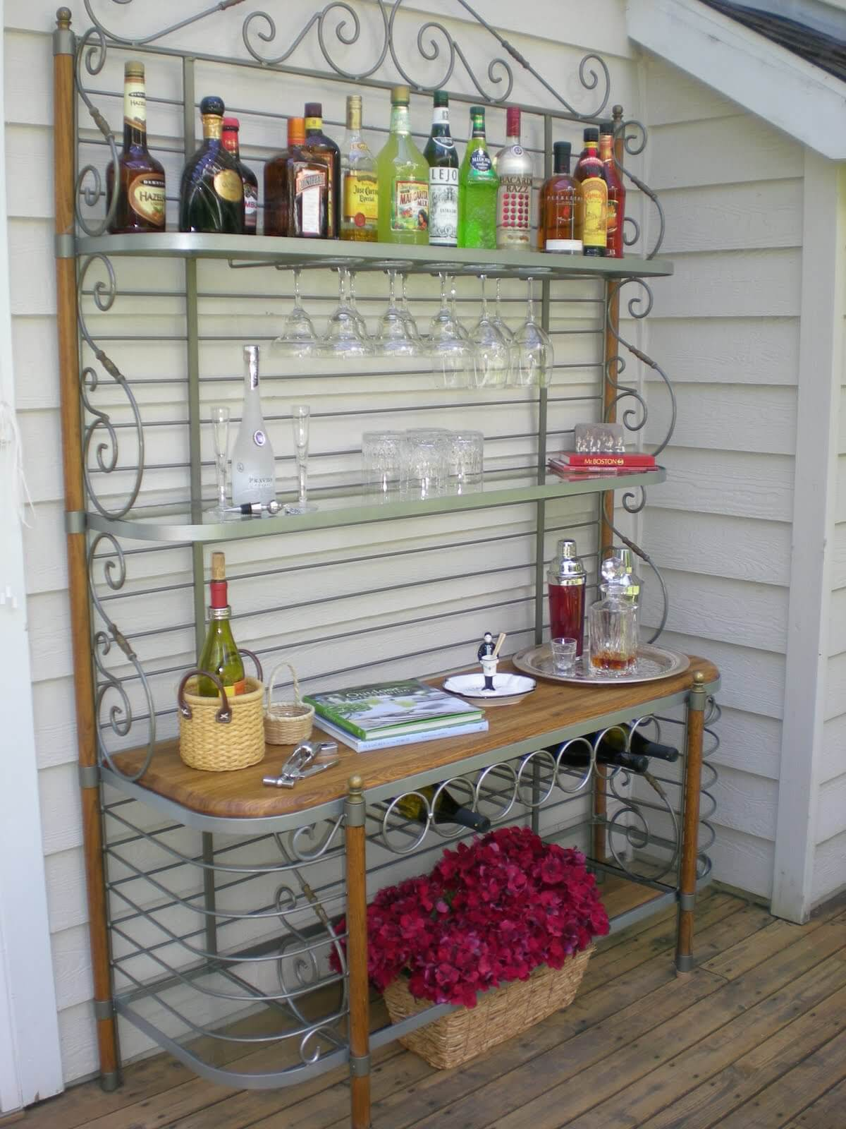 Upcycled Baker's Rack Outdoor Bar